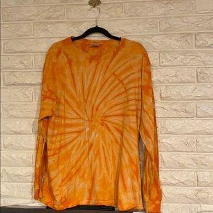 Orange long sleeve tie dye tee XL